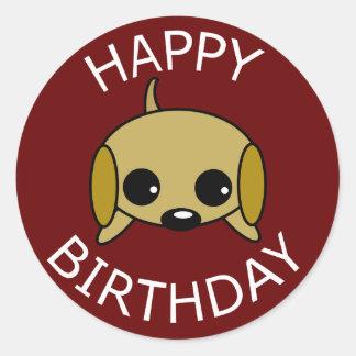 Happy Birthday Playful Puppy Classic Round Sticker