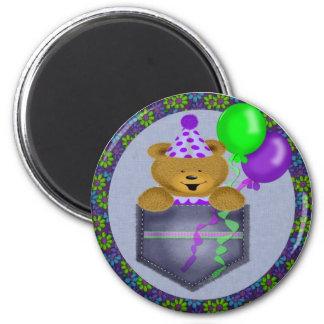 Happy Birthday Pocket Bear 2 Inch Round Magnet