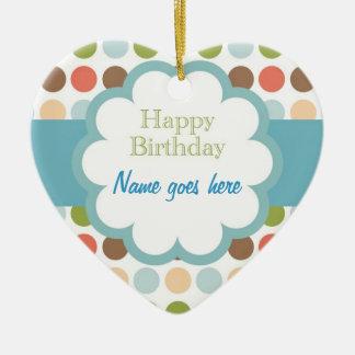 Happy Birthday (poka dots) Ceramic Ornament