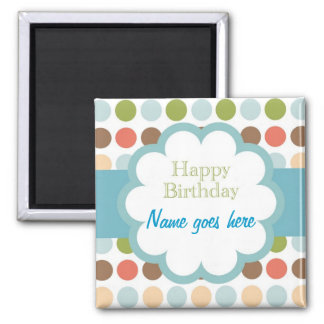 Happy Birthday (poka dots) Refrigerator Magnet