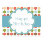 Happy Birthday (poka dots) Postcard