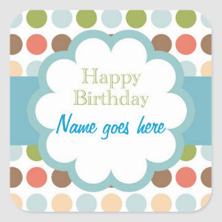 Happy Birthday (poka dots) Square Sticker