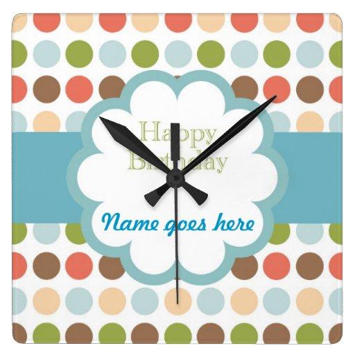 Happy Birthday (poka dots) Square Wall Clocks