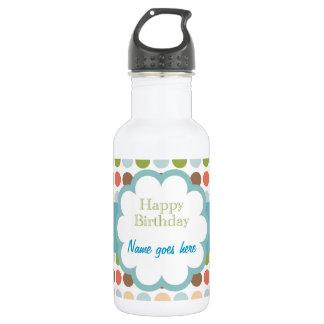 Happy Birthday (poka dots) Stainless Steel Water Bottle