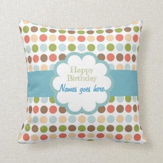 Happy Birthday (poka dots) Throw Pillows
