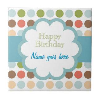 Happy Birthday (poka dots) Tile