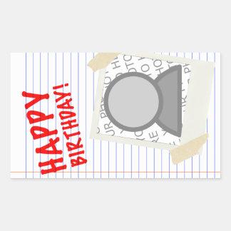 happy birthday! polaroid rectangular sticker
