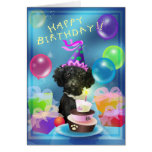 Happy Birthday poodle balloons Card