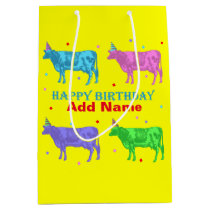 Happy Birthday Pop Art Cows Medium Gift Bag