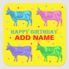 Happy Birthday Pop Art Cows Square Sticker