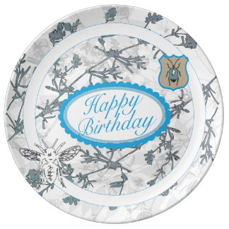 happy birthday porcelain plate