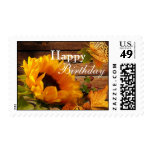 Happy Birthday Postage, Rustic Country Sunflower