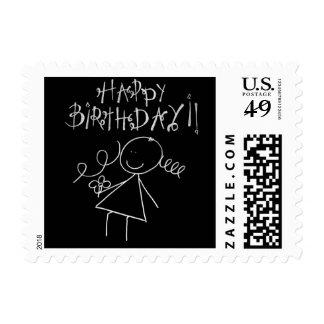 Happy Birthday Postage Stamp - Black and White