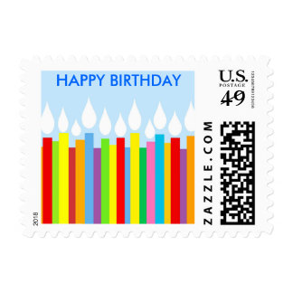 Happy Birthday Postage Stamp - Blue