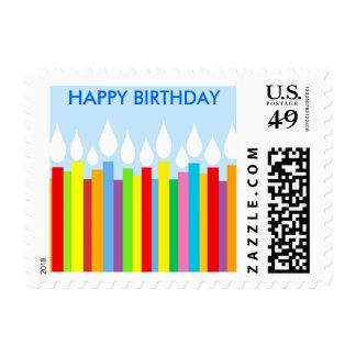 Happy Birthday Postage Stamp - Blue