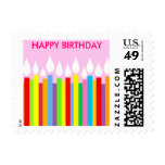 Happy Birthday Postage Stamp - Pink