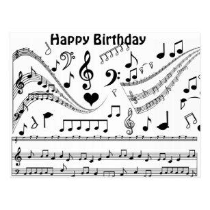 Happy Birthday Music Notes Postcards