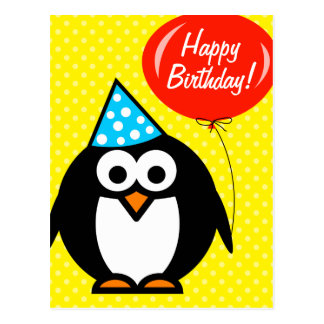 Happy Birthday postcard | cute penguin and balloon