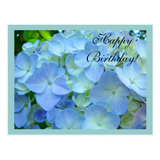 Happy Birthday postcards Blue Floral Flowers