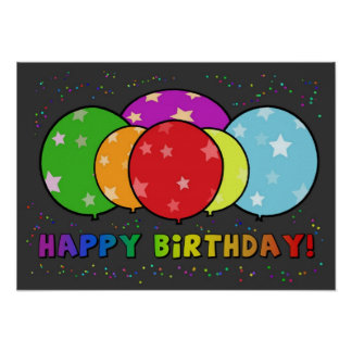 Happy Birthday Poster Rainbow Balloons