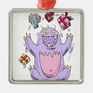Happy Birthday Present Monster Metal Ornament