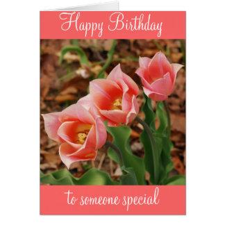 Happy Birthday Pretty Pink Tulips Card