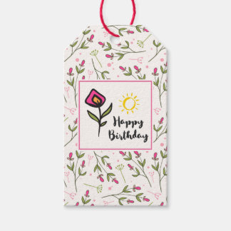 Happy Birthday - Pretty Wildlflowers and Sun Gift Tags