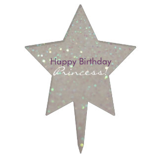 Happy Birthday Princess! Faux Glitter & Sparkles Cake Topper