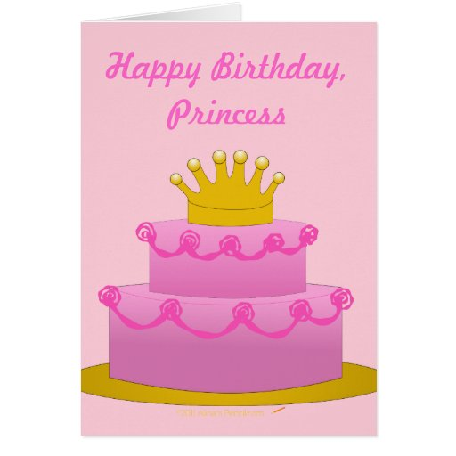 Happy Birthday Princess Pink Cake With Crown Card – Happy Birthday Princess Card