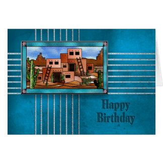HAPPY BIRTHDAY - PUEBLO HOUSES - INDIAN COLLECTION CARD
