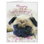 Happy Birthday Pug big greeting card