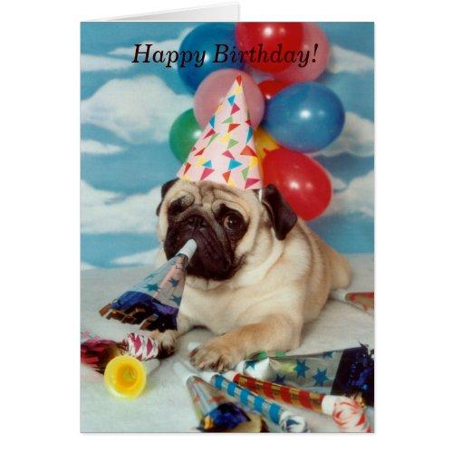 Happy Birthday Pug Card - Let's Celebrate!