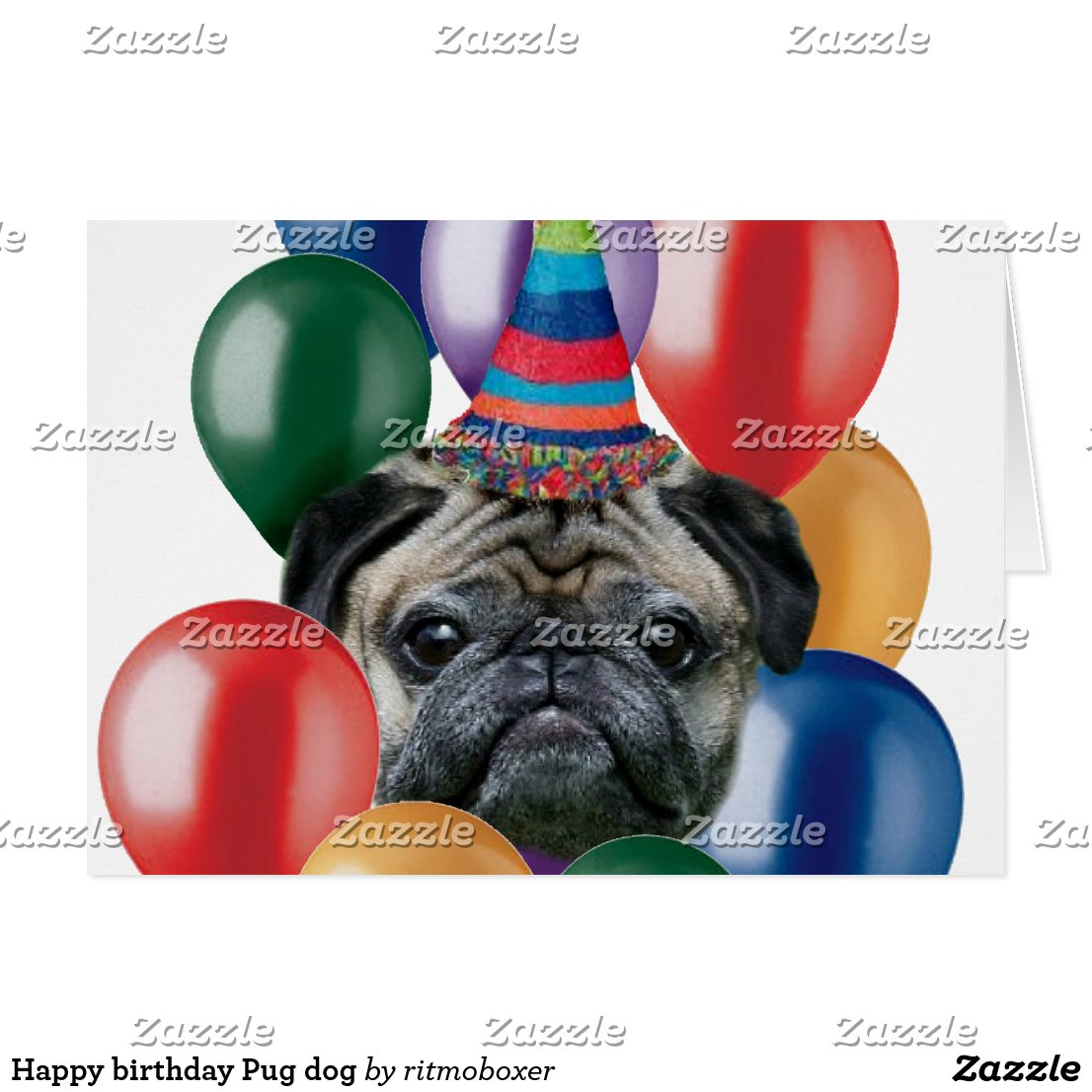 cute pug happy birthday blank greeting card