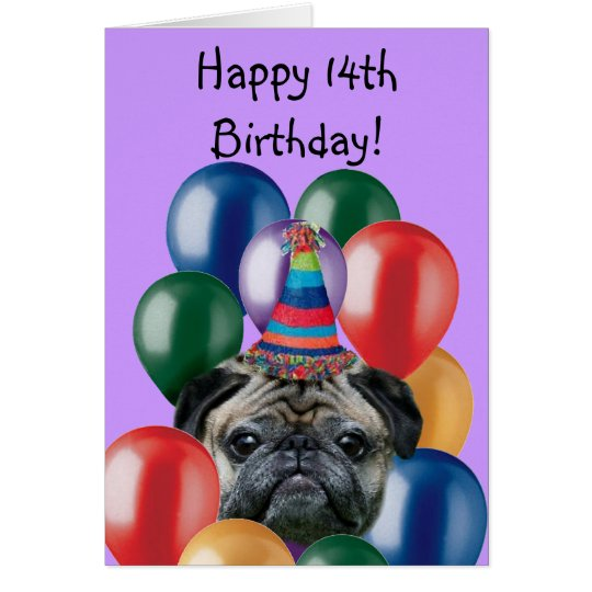 Happy Birthday pug dog greeting card