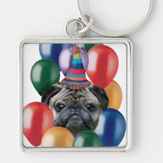 Happy birthday Pug dog Keychain