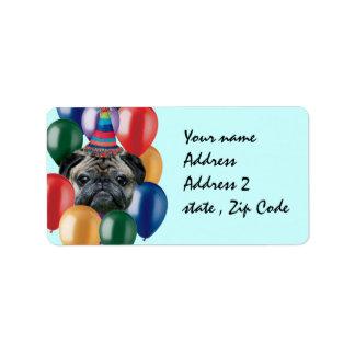 Happy Birthday pug dog Label