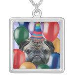Happy Birthday pug dog Necklace