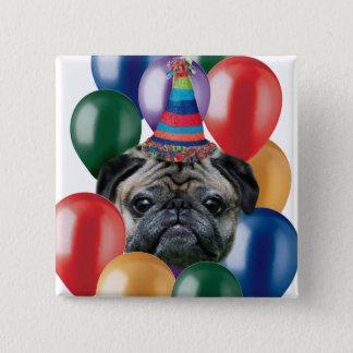 Happy birthday Pug dog Pinback Button