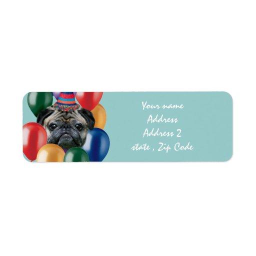 Happy Birthday pug dog Return Address Label