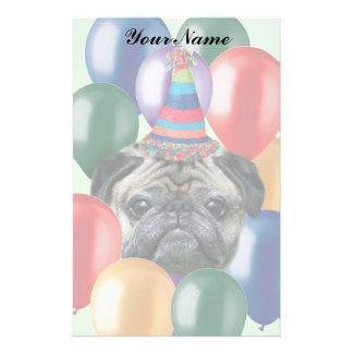 Happy Birthday pug dog Personalized Stationery