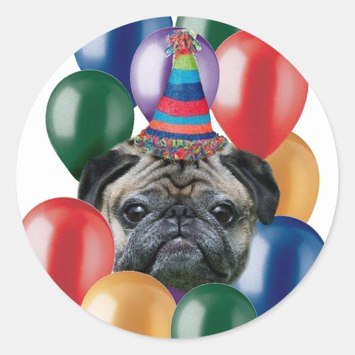 Happy Birthday Pug Dog Stickers Zazzle Com