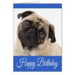 Happy Birthday Pug Puppy Dog Blue Greeting Card