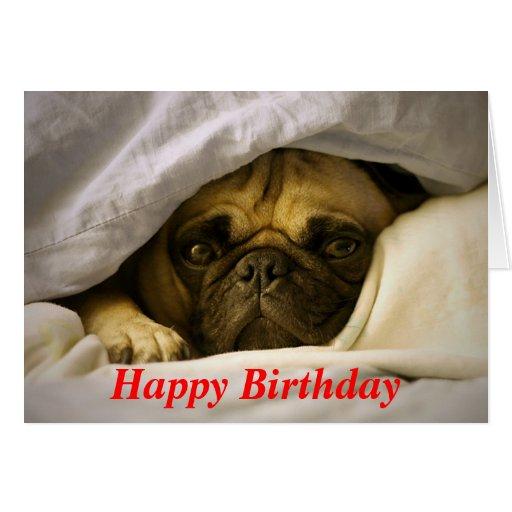 Happy Birthday Pug Puppy Dog Greeting Card
