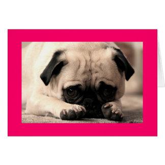 Happy Birthday Pug Puppy Dog Pink  Greeting Card