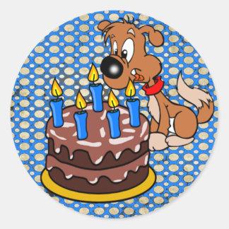 Happy Birthday Puppy and Cake Classic Round Sticker