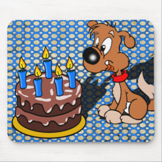 Happy Birthday Puppy and Cake Mouse Pad