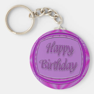 Happy Birthday purple and pink Keychain