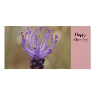 Happy Birthday Purple Flower Photo Card