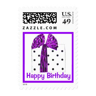 Happy Birthday Purple Gift Wrapped Present Postage