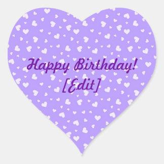 Happy Birthday - Purple Hearts Pattern Stickers